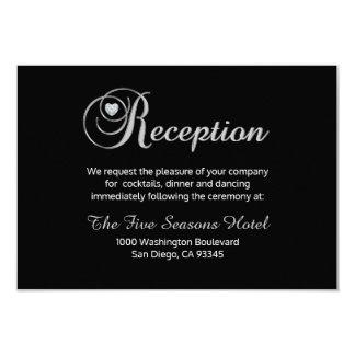 Tarjeta blanca negra elegante de la recepción invitación 8,9 x 12,7 cm