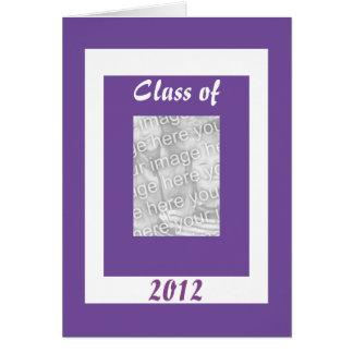 Tarjeta blanca púrpura de la foto de la graduación