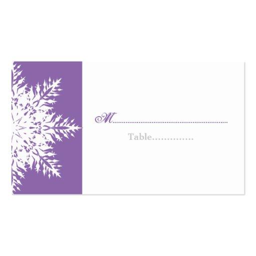 Tarjeta blanca púrpura del lugar del boda del invi tarjeta de visita