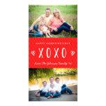 Tarjeta blanca roja de la foto de familia del el tarjeta fotografica personalizada