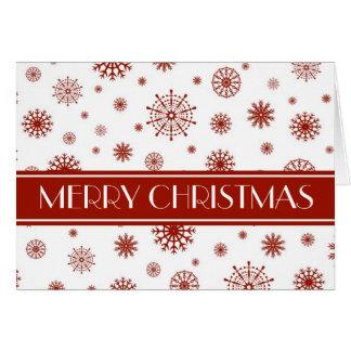 Tarjeta blanca roja de las Felices Navidad de los