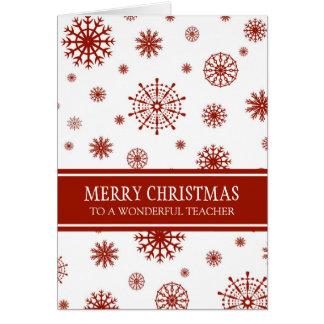Tarjeta blanca roja de las Felices Navidad del
