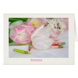 Tarjeta blanca rosada del día de madre de los