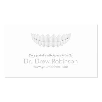 Tarjeta blanca simple de la odontología de la tarjetas de visita