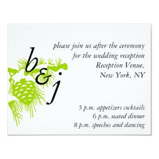 Tarjeta blanca verde de la recepción nupcial del invitación 10,8 x 13,9 cm