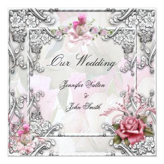 Tarjeta Blanco de plata subió rosa elegante del boda