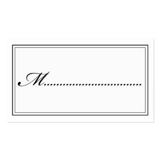 Tarjeta blanco y negro del lugar de la escritura tarjetas de visita