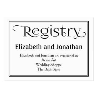 Tarjeta blanco y negro del registro del boda tarjetas de visita grandes