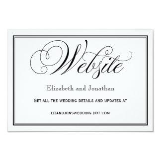 Tarjeta Tarjeta blanco y negro del Web site del boda de la