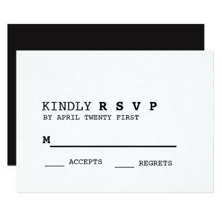 Tarjeta blanco y negro minimalista de RSVP Invitación 8,9 X 12,7 Cm