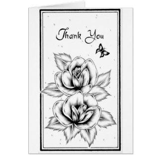 Tarjeta blanco y negro subió de agradecimiento