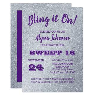 Tarjeta Bling en la plata chispea el dulce púrpura 16
