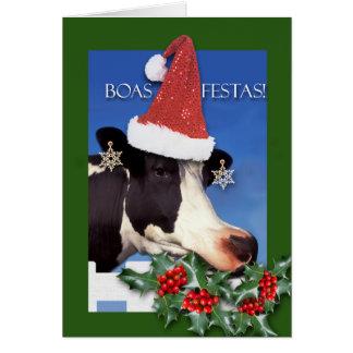 Tarjeta Boas Festas, navidad en vaca portuguesa, divertida