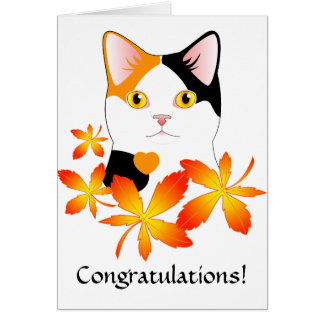 Tarjeta Bobtail japonesa linda de la enhorabuena