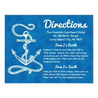 Tarjeta Boda azul de las direcciones del ancla náutica de