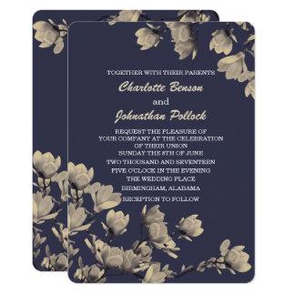 Tarjeta Boda azul de medianoche de las magnolias
