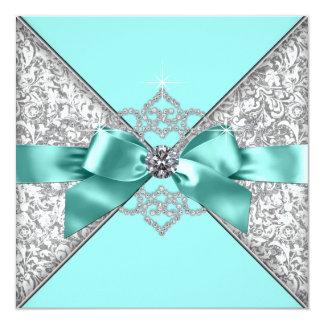 Tarjeta Boda azul verde azulado de los diamantes blancos