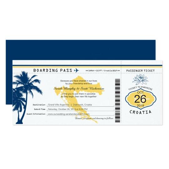 Tarjeta Boda azul y amarillo del documento de embarque de