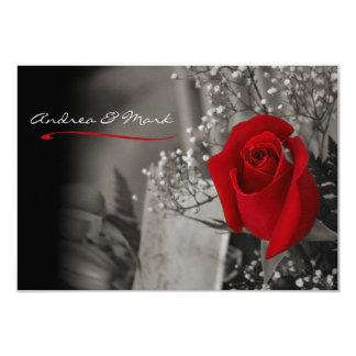 Tarjeta Boda blanco y negro elegante del rosa rojo
