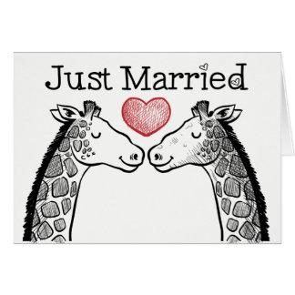 Tarjeta Boda casado negro y del blanco apenas de la jirafa