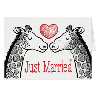 Tarjeta Boda casado negro y del rojo apenas de la jirafa