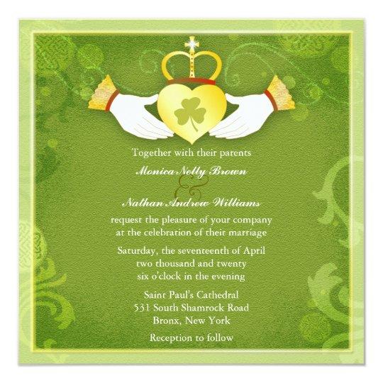 Tarjeta Boda céltico del verde del corazón de Claddagh del