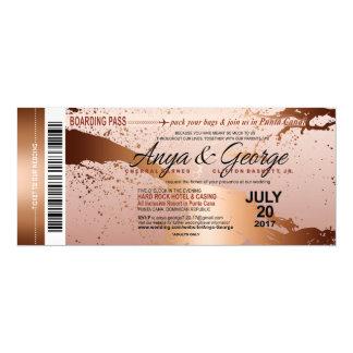 Tarjeta Boda color de rosa de cobre del Grunge de la hoja
