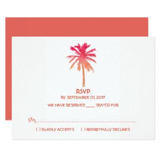 Tarjeta Boda de playa tropical de la palmera de la puesta