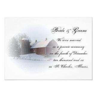 Tarjeta Boda del granero/invitación nevadas de la fuga