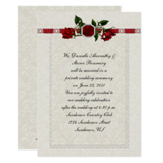 Tarjeta Boda del poste de la cinta de los rosas de rubíes