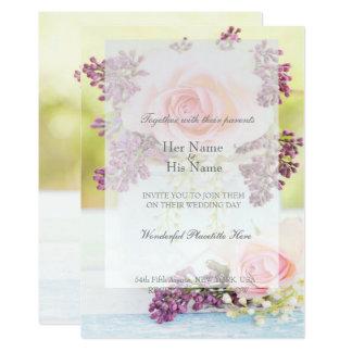Tarjeta Boda del vintage de las lilas y de los rosas