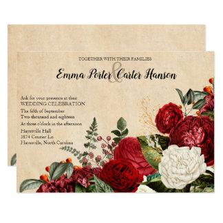 Tarjeta Boda del vintage de los rosas rojos y de las hojas