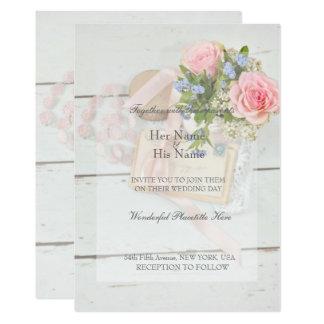 Tarjeta Boda editable del vintage de la flor romántica de