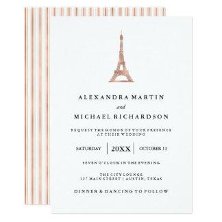 Tarjeta Boda elegante de la torre Eiffel del falso oro