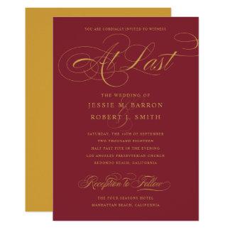 Tarjeta Boda elegante del oro de Borgoña en la caligrafía