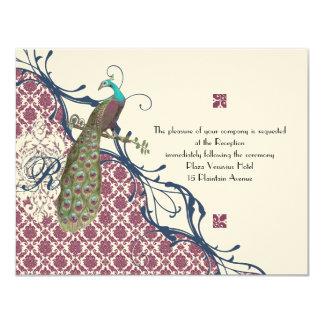 Tarjeta Boda elegante del pavo real del damasco de la baya