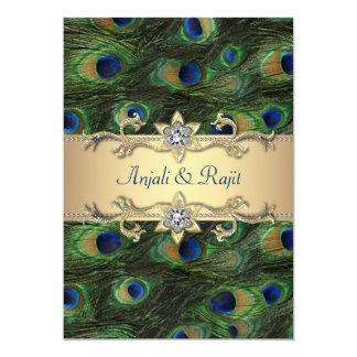Tarjeta boda elegante del pavo real del verde esmeralda