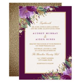 Tarjeta Boda floral Amethyst del purpurina púrpura del oro