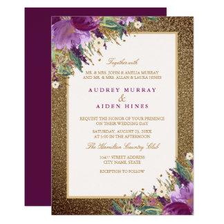 Tarjeta Boda floral Amethyst púrpura del purpurina del oro