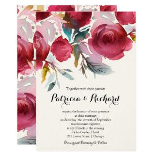Tarjeta Boda floral de Borgoña Marsala Boho