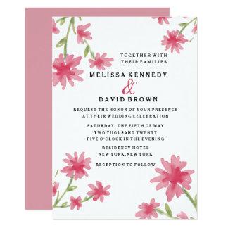 Tarjeta Boda floral de la acuarela rosada bonita