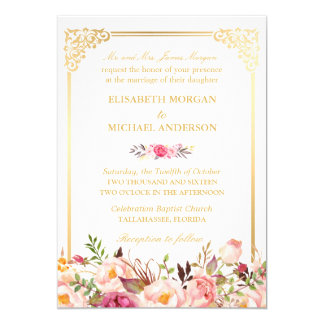 Tarjeta Boda floral del marco del oro del vintage de los
