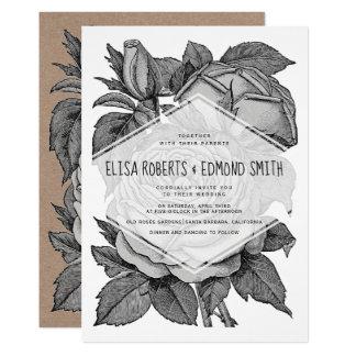 Tarjeta Boda floral del vintage gris antiguo de los rosas