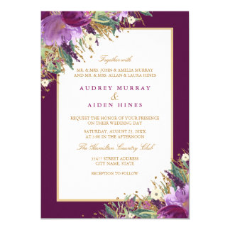 Tarjeta Boda floral púrpura Amethyst del purpurina del oro