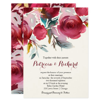 Tarjeta Boda floral romántico de Borgoña Marsala