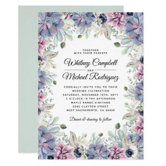 Tarjeta Boda floral suculento elegante elegante