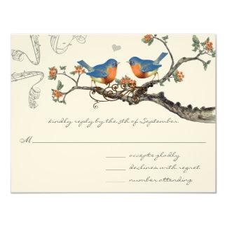 Tarjeta Boda floreciente de la rama de los Bluebirds del