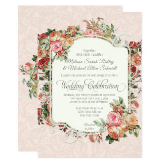 Tarjeta Boda formal color de rosa antiguo del ramo floral