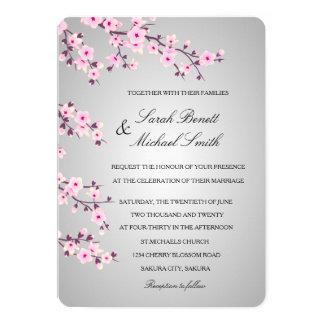 Tarjeta Boda gris del rosa floral de las flores de cerezo