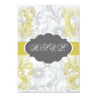 Tarjeta boda gris y amarillo del flourish floral